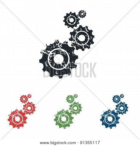 Gears grunge icon set