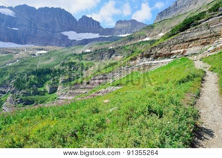 High Alpine Trail To The Glacier In Glacier National Park, Montana