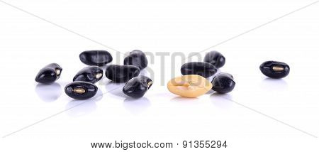 Black Beans Isolated On The White Background