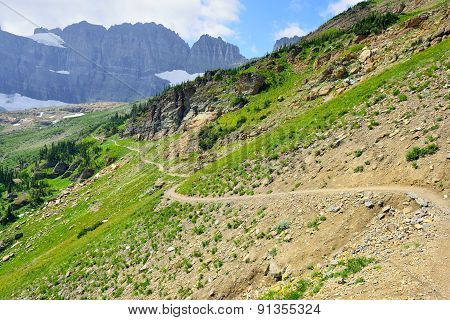 High Alpine Trail In Glacier National Park, Montana