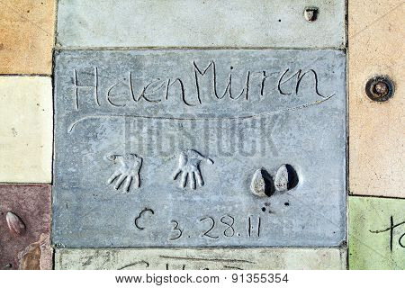 Helen Mirrens Handprints In Hollywood Boulevard In The Concrete Of Chinese Theatre's Forecourt