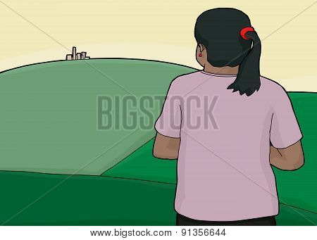 Woman And City On Green Hills