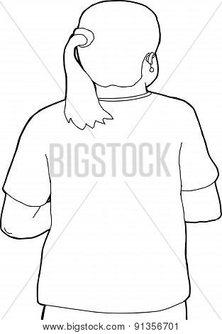 Person With Pony Tail Outline