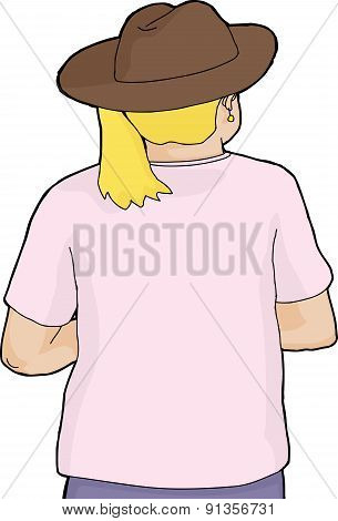 Rear View Of Blond In Cowboy Hat
