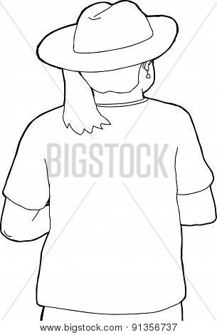 Rear View Of Woman In Hat Outline