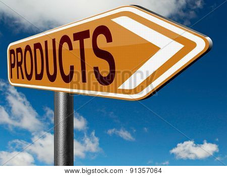 Products for sale at online internet web shop, webshop cataloge