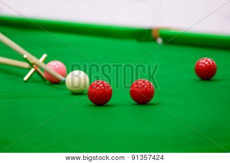 Player Was Shooting Ball On Snooker Table