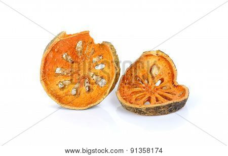 Dried Quince Slices Isolated On The White Background