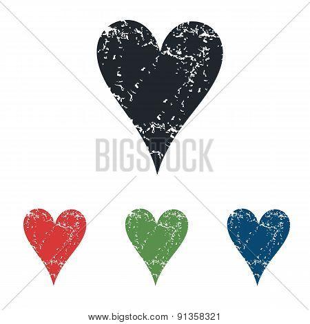 Hearts grunge icon set