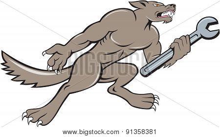 Wolf Mechanic Spanner Isolated Cartoon