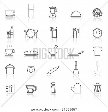 Kitchen Line Icons With Reflect On White