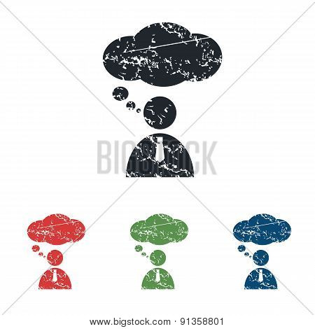 Thinking person grunge icon set