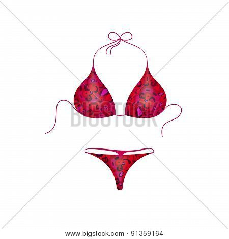 Bikini suit in red and purple military design