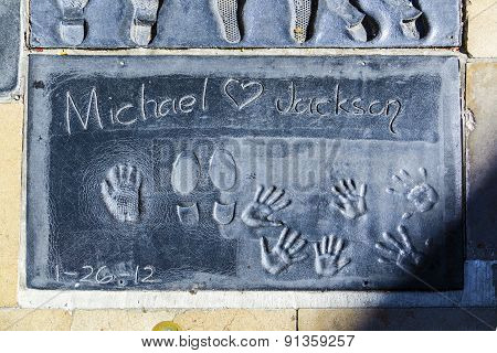 Michael Jacksons Handprints In Hollywood Boulevard In The Concrete Of Chinese Theatre's Forecourt