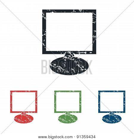 Monitor grunge icon set