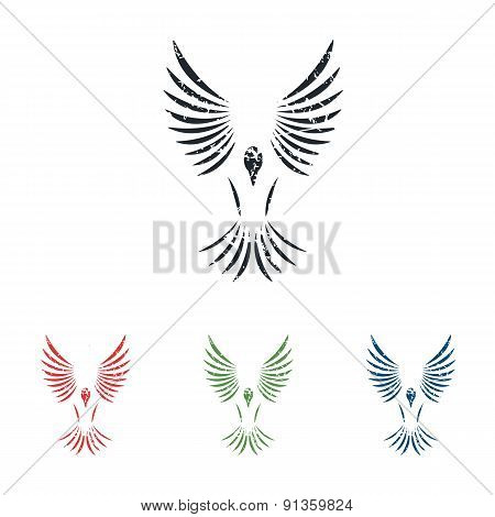 Flying bird grunge icon set