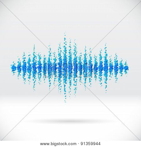 Sound waveform made of scattered balls
