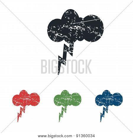 Thunderstorm grunge icon set