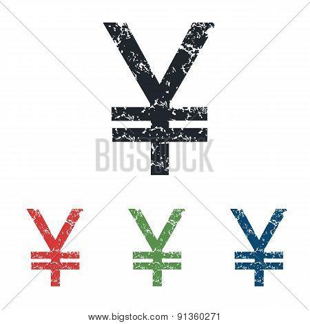 Yen grunge icon set