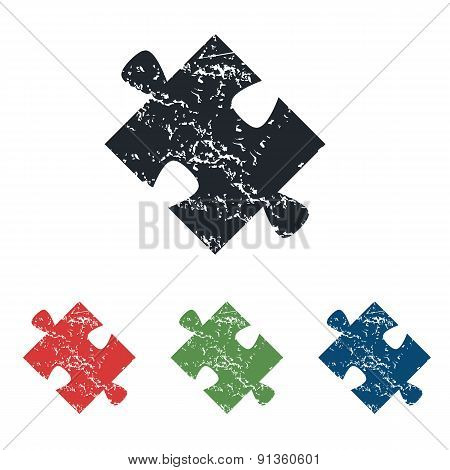 Puzzle piece grunge icon set