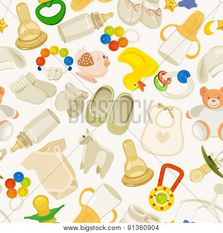 Seamless pattern with colorful baby items.