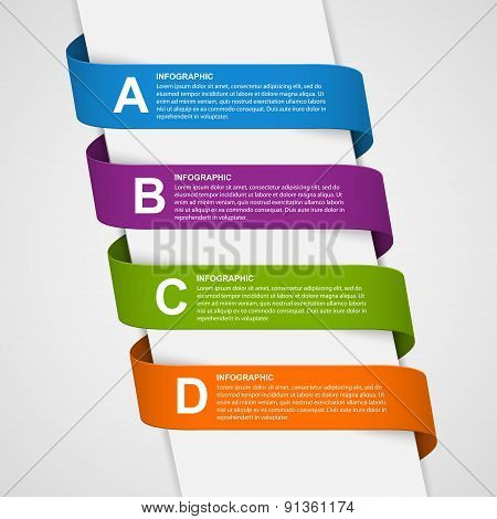 Abstract Colorful 3D Ribbons Infographic. Design Element.