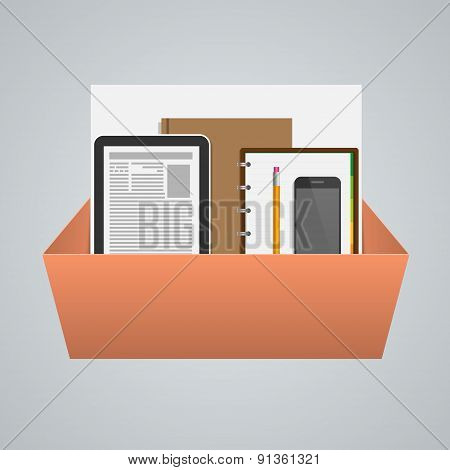 Business Box With Office Supplies. Creative Concept. Vector Illustration.