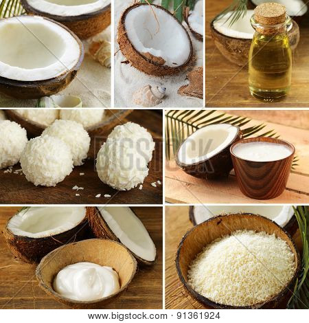 collage of fresh organic coconut and its products (oil, chips, cream)