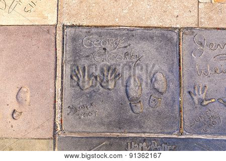 Handprints  Of George Clooney In Hollywood Boulevard In The Concrete Of Chinese Theatre's Forecourt