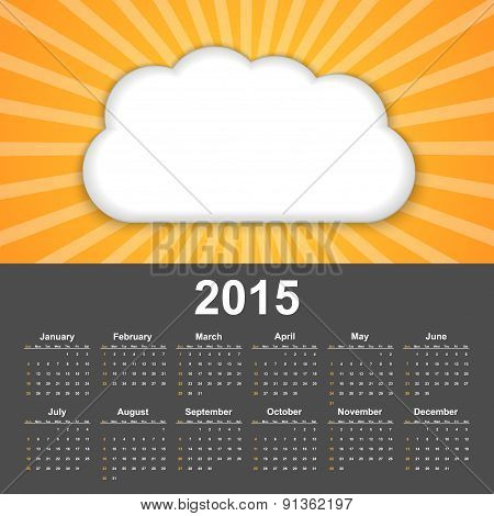 Calendar 2015. Background Cloud On A Sunny Sky.