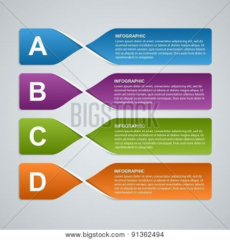 3D Abstract Paper Banners, Options Infographic. Design Element. Vector Illustration.