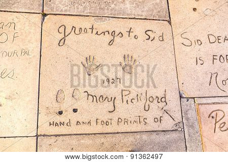 Handprints  Of Mary Pickford In Hollywood Boulevard In The Concrete Of Chinese Theatre's Forecourt