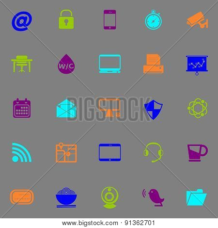 Internet Cafe Icons Fluorescent Color On Gray Background