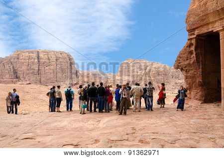 Jordan, Petra, Tourists On The Observation Deck At The Royal Tombs