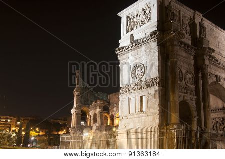 Colosseum And Arch Of Constantine At Night