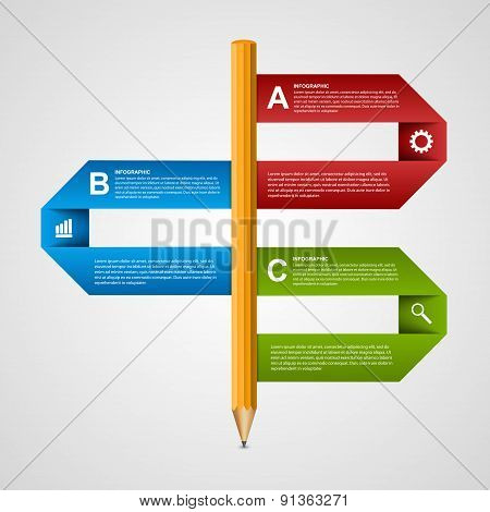 Education Pencil Option Infographics Design Template. Design Element. Vector Illustration.