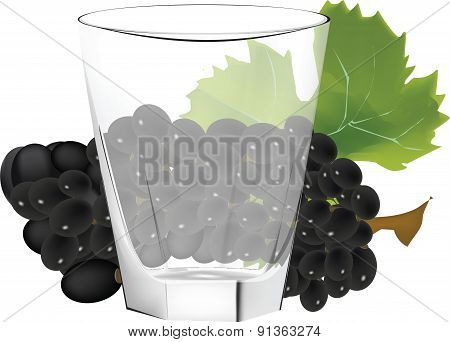 glass cup with fruit behind the black grapes symbol of drink