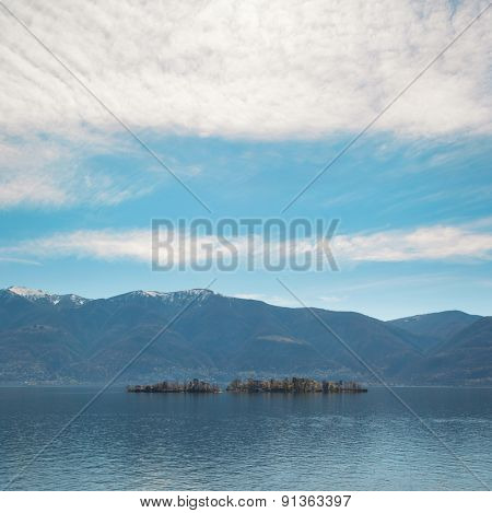 beautiful view of Locarno lake, Brissago islands