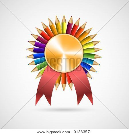 Education Pencil Award Rosette With Ribbon. Vector Illustration.