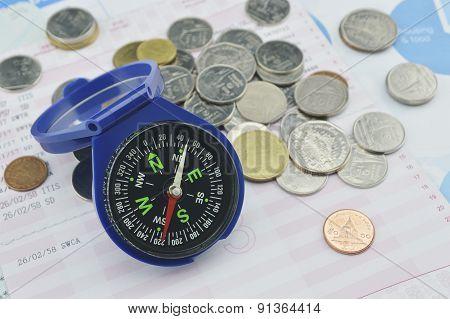 Blue Compass On Graph Paper, Saving Concept