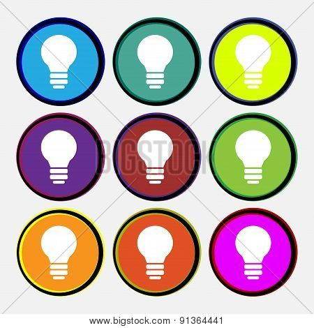 Light Lamp, Idea  Icon Sign. Nine Multi-colored Round Buttons. Vector