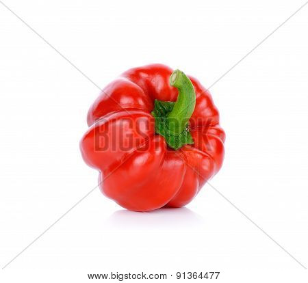 Red Paprika Isolated On The White Background