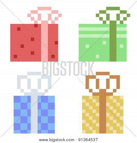 illustration pixel art icon gift