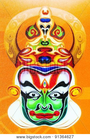 Kathakali face depicted on a polyethylene sheet surface
