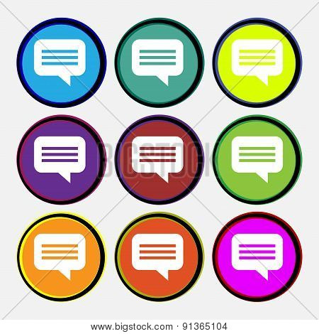 Speech Bubble, Chat Think  Icon Sign. Nine Multi-colored Round Buttons. Vector