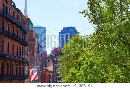 American flag in Boston near Common Massachusetts USA