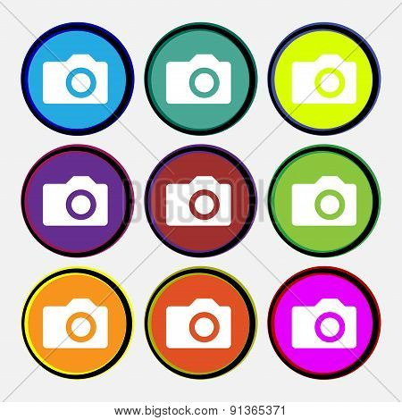 Digital Photo Camera  Icon Sign. Nine Multi-colored Round Buttons. Vector