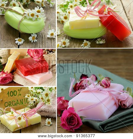 collage of different organic soap with flowers on a wooden background
