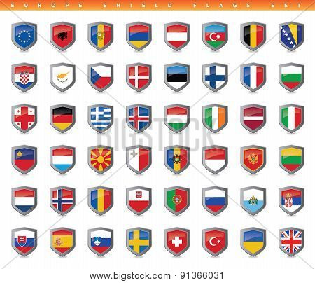 Europe Shield Flags Set