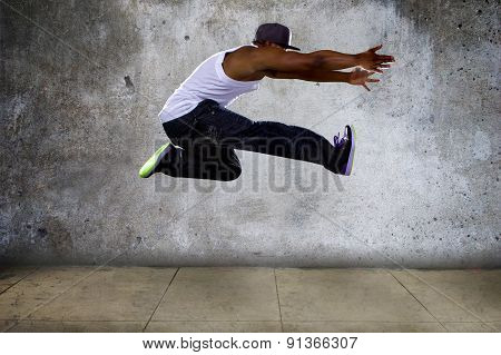 Urban Black Man Jumping High